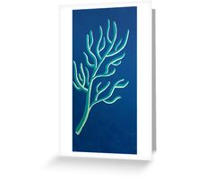 Teal and Off White Coral on Blue-Green Greeting Card