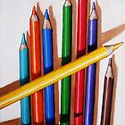 """Color Me Happy"" - realistic still life colored pencils by LindaAppleArt"