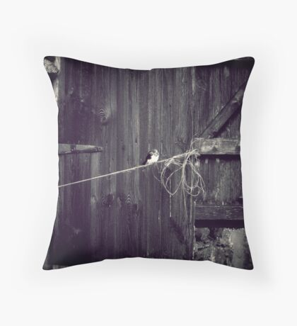 Bird on  a wire, English old barn Throw Pillow
