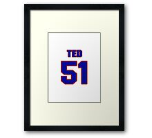 National football player Ted Bates jersey 51 Framed Print