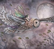 Soaring Fairy and Owl in Flight Illustration Fantasy Art by Molly Harrison by Molly  Harrison