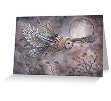 Soaring Fairy and Owl in Flight Illustration Fantasy Art by Molly Harrison Greeting Card