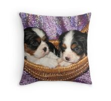 Cavalier Pups In Basket Throw Pillow