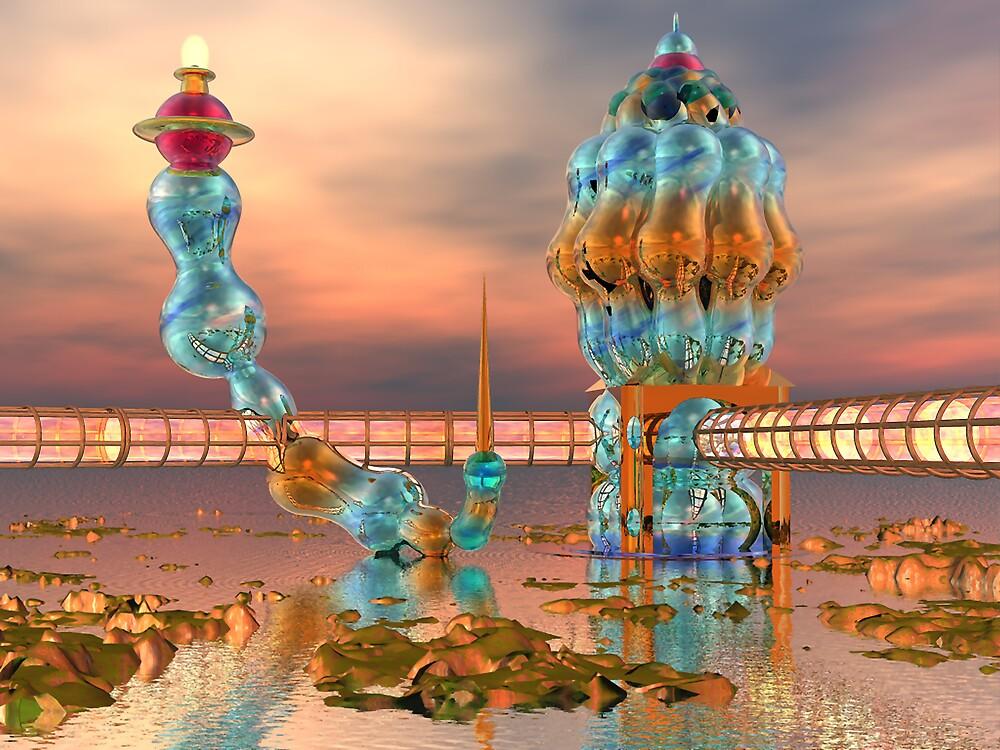 Alien Beach Resort Architecture - 3D digital art by Dave Martsolf