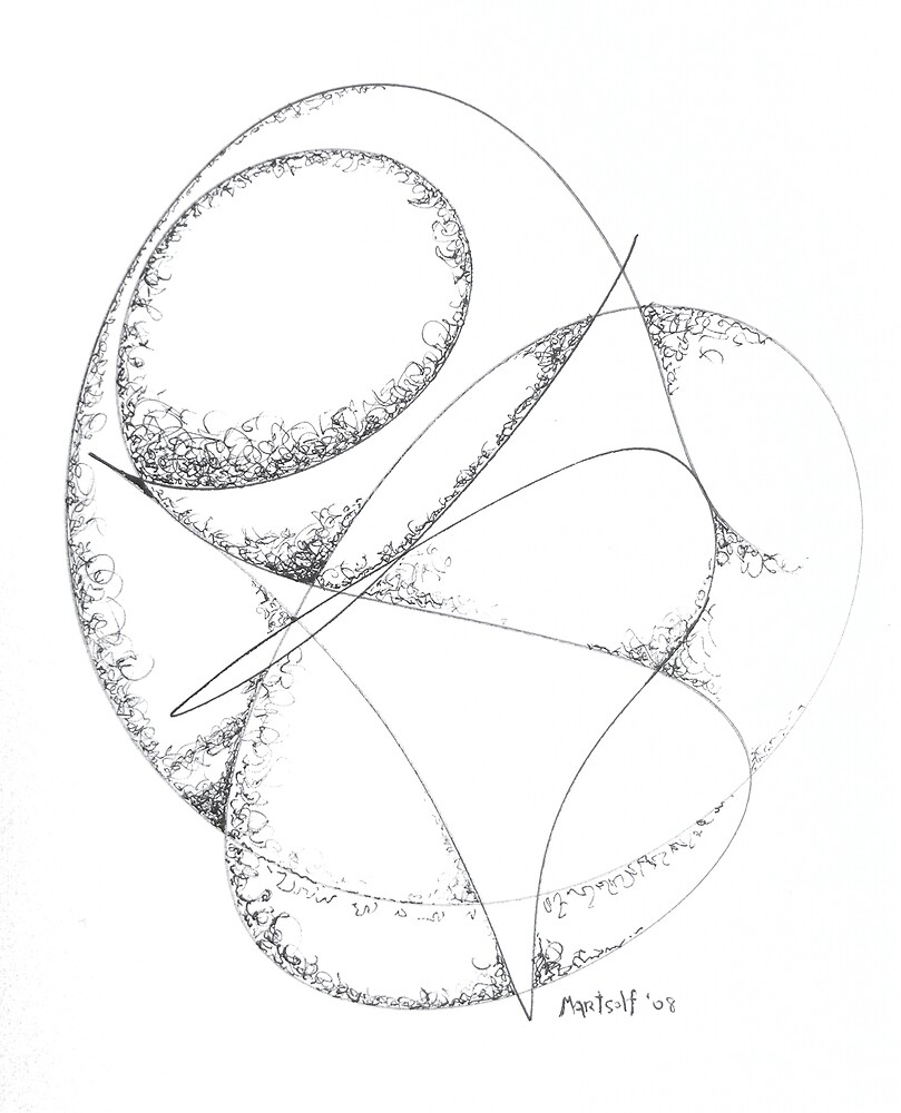 Polished Convolutions - pen and ink on paper by Dave Martsolf