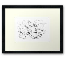 The Masque - pen and ink on paper Framed Print