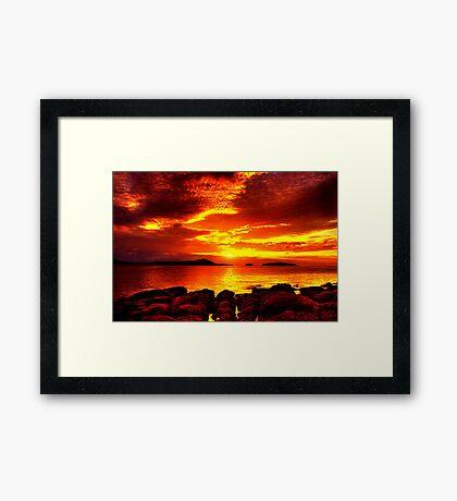 Bunbeg Fiery Sunset Framed Print