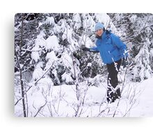 Snowshoeing in Winter Metal Print