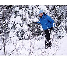Snowshoeing in Winter Photographic Print