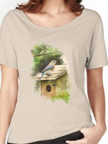 Eastern Bluebird Watercolor Art Women's Relaxed Fit T-Shirt