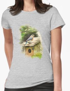 Eastern Bluebird Watercolor Art Womens Fitted T-Shirt