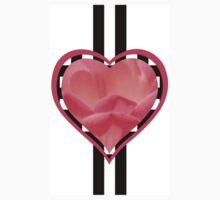 Valentine's Pink Floral Heart Decoration - Modern Design One Piece - Short Sleeve