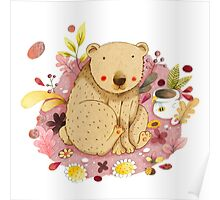 Bear with Honey-Pot Poster