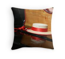Straw hat on a gondola Throw Pillow