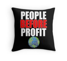 People Before Profit - black Throw Pillow