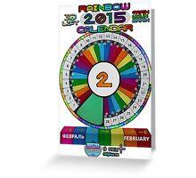 FEBRUARY - 2015 Rainbow Calendar - Sticker Greeting Card