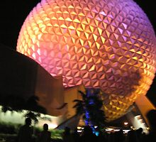 Epcot Ball After Fireworks by Sandra Gray