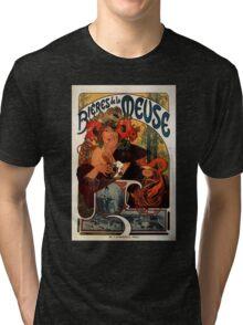 'Bieres de la Meuse' by Alphonse Mucha (Reproduction) Tri-blend T-Shirt