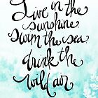 Live in the sunshine quote by Ralph Waldo Emerson by Franchesca Cox