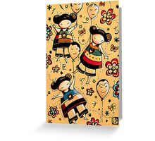 Three Asian Dolls with Balloons Greeting Card