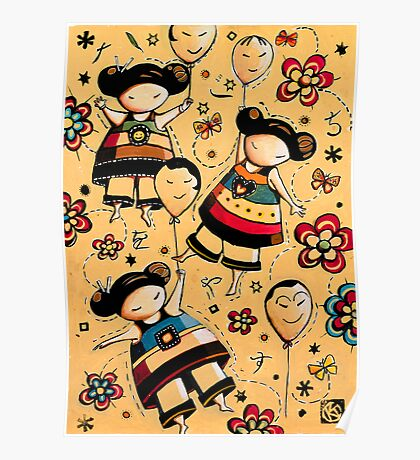 Three Asian Dolls with Balloons Poster