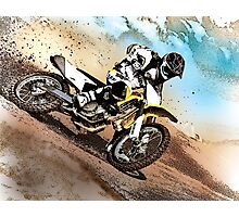 Graphically altered dirt biker  Photographic Print