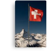 Matterhorn and swiss flag Canvas Print