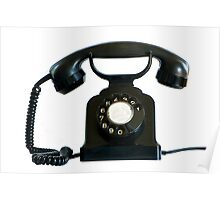 Old black phone isolated on white.   Poster