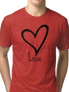 LOVE....#BeARipple Black Heart on Red Tri-blend T-Shirt