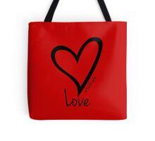 LOVE....#BeARipple Black Heart on Red Tote Bag