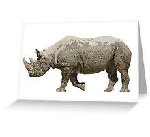 Isolated muddy rhinoceros on white Greeting Card