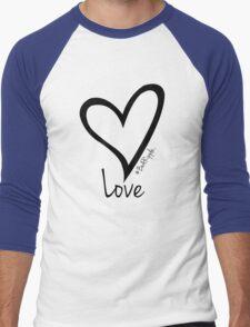 LOVE....#BeARipple Black Heart on Blue Men's Baseball ¾ T-Shirt