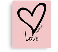 LOVE....#BeARipple Black Heart on Pink Canvas Print
