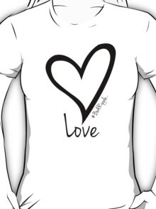 LOVE....#BeARipple Black Heart on Pink T-Shirt