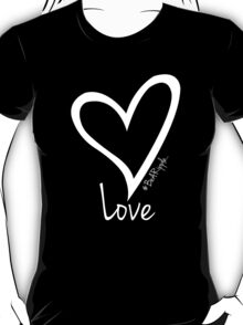 LOVE....#BeARipple White Heart on Black T-Shirt