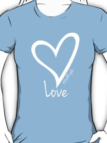 LOVE....#BeARipple White Heart on Blue T-Shirt
