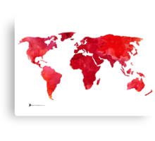 Red world map silhouette art print watercolor painting Canvas Print