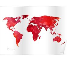 Red world map silhouette art print watercolor painting Poster