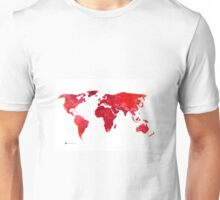 Red world map silhouette art print watercolor painting Unisex T-Shirt