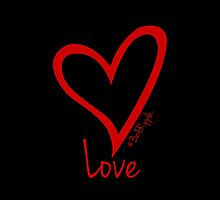 LOVE....#BeARipple Red Heart on Black by BeARipple