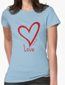 LOVE....#BeARipple Red Heart on White Womens Fitted T-Shirt