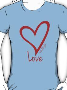 LOVE....#BeARipple Red Heart on Blue T-Shirt