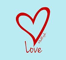 LOVE....#BeARipple Red Heart on Blue by BeARipple