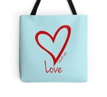 LOVE....#BeARipple Red Heart on Blue Tote Bag