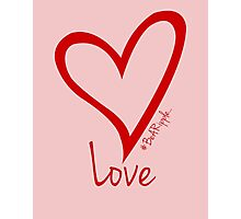 LOVE....#BeARipple Red Heart on Pink Photographic Print