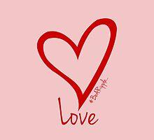 LOVE....#BeARipple Red Heart on Pink by BeARipple