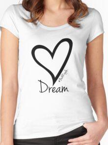 DREAM....#BeARipple Black Heart on Pink Women's Fitted Scoop T-Shirt