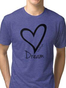 DREAM....#BeARipple Black Heart on Pink Tri-blend T-Shirt
