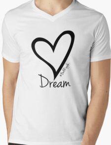 DREAM....#BeARipple Black Heart on Pink Mens V-Neck T-Shirt