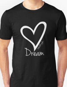 DREAM....#BeARipple White Heart on Black Unisex T-Shirt